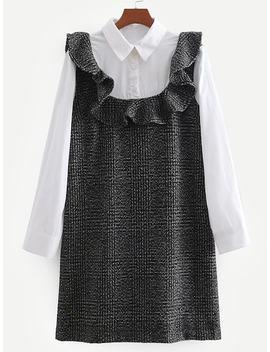 2 In 1 Button Detail Ruffle Dress by Sheinside