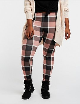 Plus Size Plaid Stretchy Leggings by Charlotte Russe