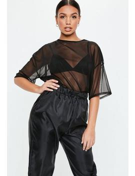 Black Mesh Oversized T Shirt by Missguided