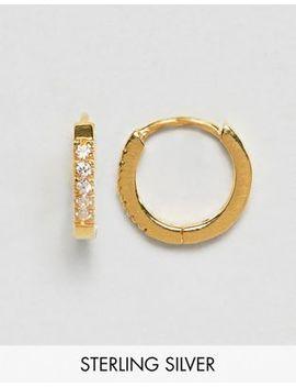 Asos Design – Huggie – Vergoldete Creolen Aus Sterlingsilber Mit Kristallen by Asos