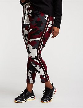 Plus Size Camo Side Stripe Jogger Pants by Charlotte Russe