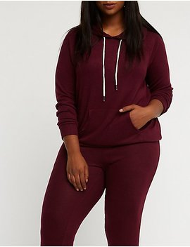 Plus Size Knit Drawstring Hoodie by Charlotte Russe