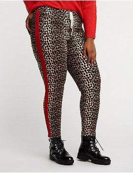 Plus Size Leopard Print Jogger Pants by Charlotte Russe