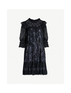 Lace Illusion Embroidered Tulle Mini Dress by Needle And Thread