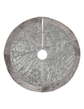 John Lewis & Partners Jet Sequined Tree Skirt, Silver by John Lewis & Partners