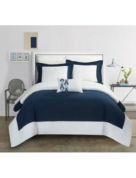Chic Home 4 Piece Uma Modern Two Tone Reversible Hotel Collection, With Embellished Borders And Embroidery Decor Pillow King Duvet Cover Set Navy by Chic Home