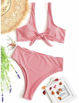 Knotted Striped High Cut Bikini Set   Red With White L by Zaful