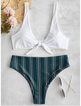 Tie Front Striped Bikini Set   Medium Forest Green L by Zaful