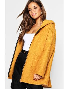Petite Textured Hooded Chuck On Coat by Boohoo