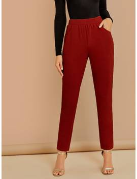 Wide Waistband Solid Pants by Shein