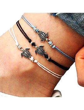 Chenpu 3 Pcs Women Anklet Chain Turtle Shape Ankle Bracelet Boho Beach Sandal Barefoot Charm Foot Jewelry by Chenpu