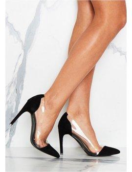 Aurelia Black Clear Detail Court Shoes by Missy Empire