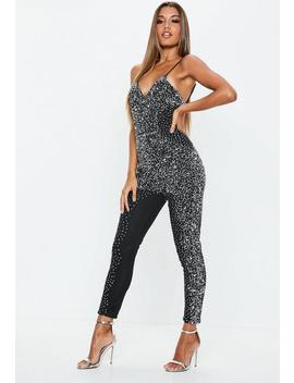 Premium Black Crystal Embellished Jumpsuit by Missguided