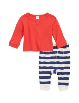 Ribbed Top And Stripe Bottoms Set by Nordstrom Baby