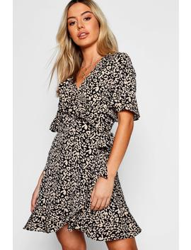 Petite Leopard Print Ruffle Wrap Dress by Boohoo