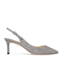 Erin 65 Glittered Prince Of Wales Checked Leather Slingback Pumps by Jimmy Choo
