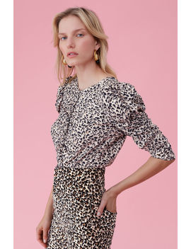 Leopard Print Silk Ruched Top by Rebecca Taylor