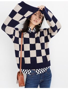 Cardiff Checkerboard Crewneck Sweater In Coziest Yarn by Madewell