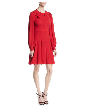 Bow Front Long Sleeve Fit And Flare Silk Georgette Dress by Michael Kors Collection