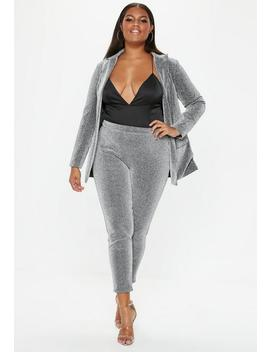 Plus Size Silver Sparkle Tapered Trousers by Missguided