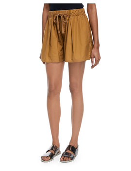 Pleated Self Tie Cotton Shorts by Vince
