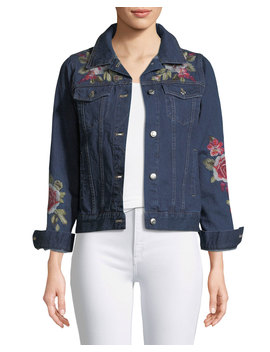 Desi Floral Embroidered Denim Jacket, Plus Size by Johnny Was