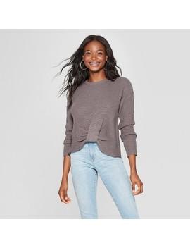 Women's Long Sleeve Twist Front Pullover Sweater   Xhilaration™ by Xhilaration