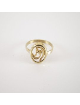Gold Plated Oval Signet Ring 0.59in*0.47in, Floral Pinky Ring For Women, Simple Signet Ring Men, Brass Ring, Co Worker Gift, Nickel Free by Etsy