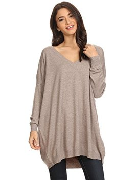 Ad Womens Basic Oversized V Neck Sweater Pullover Tunic Top by Alexander + David