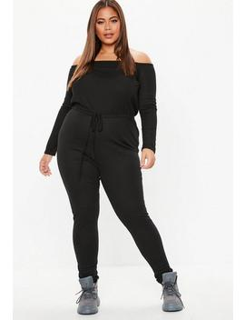 Plus Size Black Ribbed Bardot Jumpsuit by Missguided