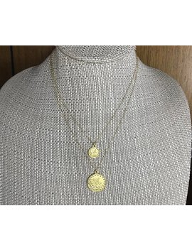 Monte Carlo Gold Coin Pendant 2 Necklace Set * 14k Gold Filled Chain * Dangling Coins * Delicate *Dainty *  Minimal *Simple * Fun by Etsy