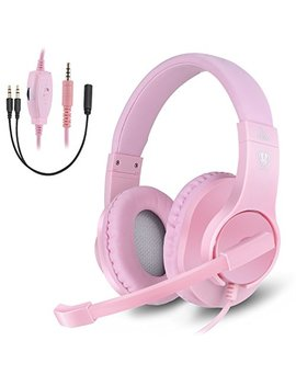 Headset Gaming For Ps4 ,Xbox One Controller ,Wired Noise Isolation, Over Ear Headphones With Mic ,Stereo Gamer Headphones 3.5mm, Earphone For Laptop, Mac, Pc (Pink) by Greatlevel