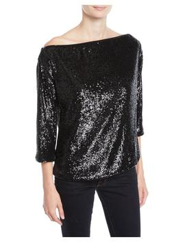 Zoey Off Shoulder Sequin 3/4 Sleeve Top by A.L.C.