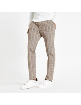 Light Brown Check Skinny Fit Trousers by River Island