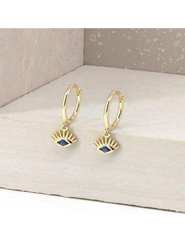 Evil Eye Earrings   Evil Eye Hoops   Dainty Hoop Earrings   Gold Charm Hoops   Delicate Hoops   Blue Stone Earrings   Sapphire Earrings by Etsy