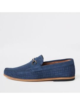 Blue Suede Snake Embossed Snaffle Loafers by River Island