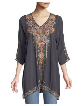 Mikaela 3/4 Sleeve Embroidered Tunic, Plus Size by Johnny Was