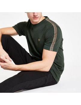 Dark Green Slim Fit Luxe Tape Side T Shirt by River Island