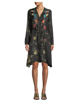 Winter Button Front Embroidered Shirtdress With Slip, Plus Size by Johnny Was
