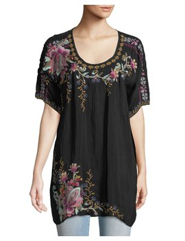 Alyssa Floral Embroidered Long Georgette Tunic, Plus Size by Johnny Was