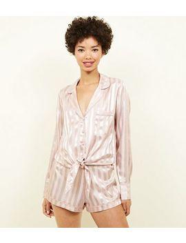 Pink Stripe Satin Pyjama Shorts by New Look