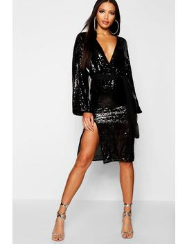 Sequin Kimono Sleeve Midi Dress by Boohoo