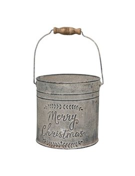 The Holiday Aisle Daniella Merry Christmas Metal Bucket by The Holiday Aisle