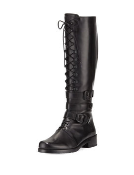 Police Lady Leather Lace Up Knee Boot by Stuart Weitzman