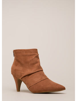 Say Pleats Pointy Cone Heel Booties by Go Jane