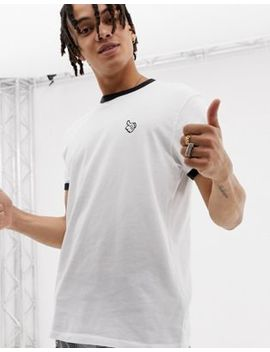 Bershka Mickey Mouse T Shirt In White With Contrast Piping by Bershka