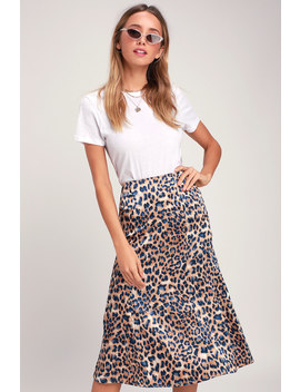 Global Icon Tan And Navy Blue Leopard Print Satin Midi Skirt by Lulus