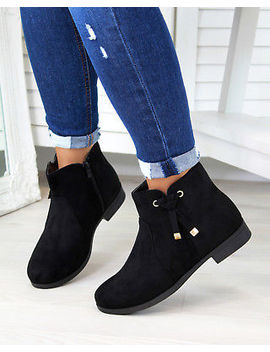New Womens Ladies Ankle Boots Bow Zip Low Heel Casual Flat Shoes Sizes 3 8 by Ebay Seller