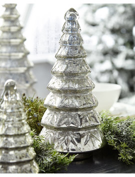 Mercury Glass Layered Tabletop Christmas Tree, Medium by Neiman Marcus