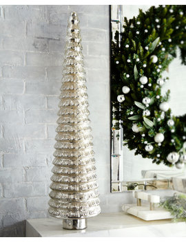 "Mercury Glass Flared Tabletop Christmas Tree, 36"" by Neiman Marcus"